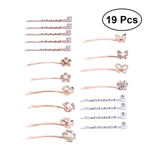 Frcolor 19pcs Hair Pins Butterfly Flower Pearl Bobby Pins Hair Clip for Ladies and Girls