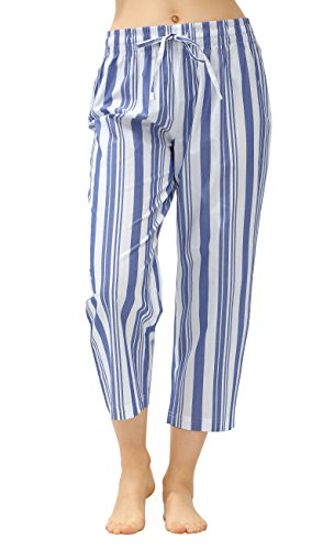 CYZ Women's 100% Cotton Woven Pajama Capri-Indigo Stripe-L
