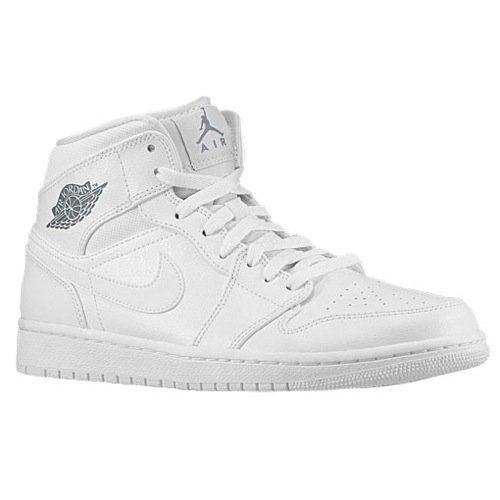 Nike Jordan Mens Air Jordan 1 Mid White/Cool Grey/White Basketball Shoe 13 Men US (Air Jordan 1 Cool Grey)