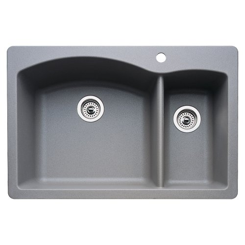 Blanco 440198 Diamond 1-1/2 Bowl Kitchen Sink, Metallic Gray (1 1/2 Bowl Undermount Sink)