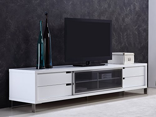 Casabianca Furniture TC-0135-WH Duke High Gloss White Lacquer Entertainment Center by Casabianca Home, 94 W x 21 D x 20.25 H ()