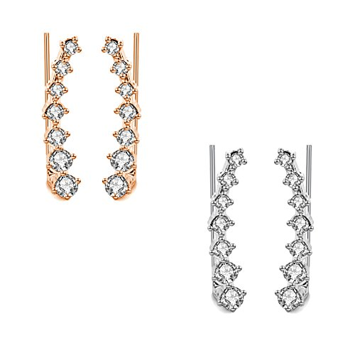 Miraculous Garden Womens 2 Pairs Rose Gold Silver Plated Rhinestone Crystal Ear (Pin Earrings)