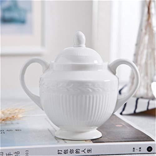 Emboss Designs - European Creative Ceramic Coffee Sugar Bowl Emboss Design Seasoning Jar Condiment Pot Spice Container Canister Cruet With Lid B