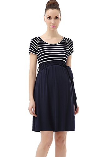 Momo Maternity Button Detail Nautical Style Dress - M