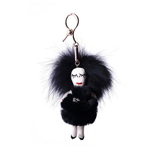 URSFUR Piel de zorro muñeca de muchacha de pelo largo bolsa de cadena dominante de coche de conejo negro