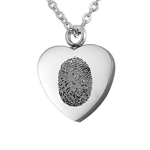 Valyria Jewelry Polished Heart Urn Pendant Cremation Ashes Memorial Necklace with Personalized Fringerprint &Engraving (Fingerprint)
