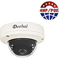 Deebol HDB-IP4411E 4MP H.265 HD PoE Network Dome Security Camera With 3.6mm Angle Lens ONVIF 2.4, QR Code ,12x IR LEDs ,20M IR Distance, Indoor Vandalproof camera