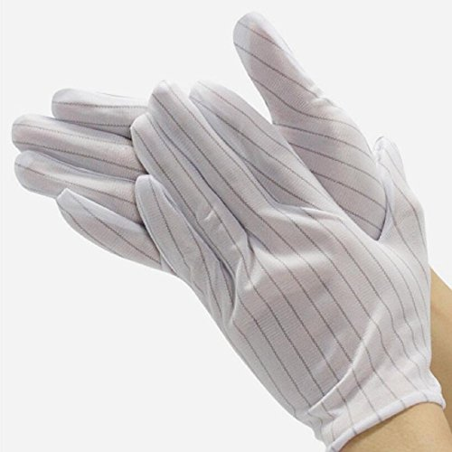 Aerfas 20 Pair White Color Double Sides Stripe Anti Static Gloves for Computer Electronic Working Repairing ESD PC Anti-skid Dust-free workshop work gloves Protective gloves Labour safety glove