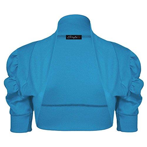 Janisramone Mujeres algodón fruncido bolero puff encogiéndose de hombros rebeca crop arriba manga Teal