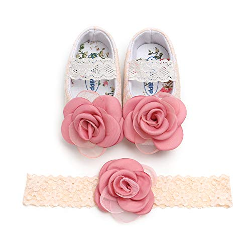 (Kuner Toddler Baby Girls Shoes Soft Soled Wedding Shoes Ballerina Girls Lace Flower Shoes with Bow Ribbon (11cm(0-6months), Pink-1))
