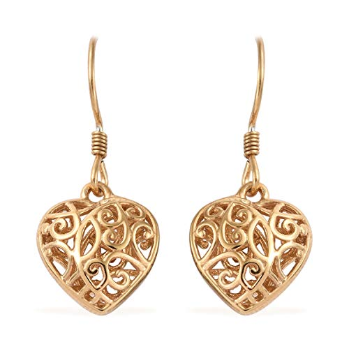 Heart 14k Gold Dangle Earring - 14K Yellow Gold Sterling Silver Openwork Dangle Drop Heart Valentines Earrings Gift Jewelry for Women