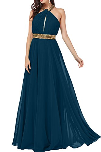 ivyd ressing Mujer a de línea Neck Holder con piedras gasa vestido de fiesta Prom vestido para vestido de noche Tintenblau