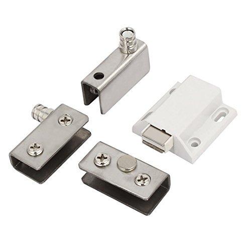 eDealMax Armario Armario metálico Para puertas de vidrio Cierre magnético Establecer tono de Plata