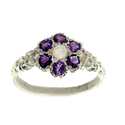 925 Sterling Silver Natural Opal and Amethyst Womens Cluster Ring - Sizes 4 to 12 Available (Cluster 925 Sterling Silver Ring)