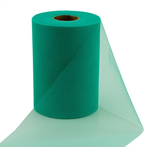 1/2' 100 Bows (vLoveLife Teal Green 6 Inch x 100 Yards Tulle Roll Spool Fabric Table Runner Chair Sash Bow Tutu Skirt Sewing Crafting Fabric Wedding Party Gift Ribbon …)