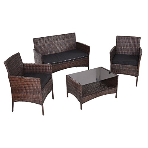Tangkula 4 PCS Outdoor Furniture Set Patio Garden Lawn Rattan Wicker Sectional Sofa Set with Cus ...