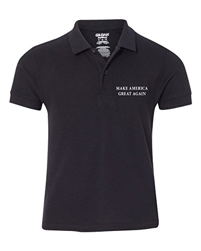 Gildan Embroidered Polo Shirt (Youth Donald Trump Make America Great Again Embroidered Pre-Shrunk Polo Shirt - Black - M)
