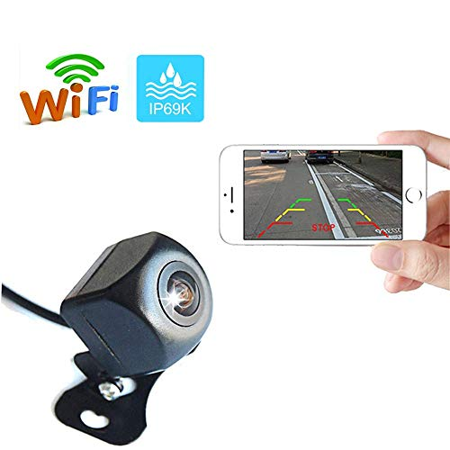 AMprime Mini WiFi Backup Camera 1080P Full HD Wireless Rear View Camera Car Parking Assistance Night Vision Support Record Function on APP for iPhone/Android Phones
