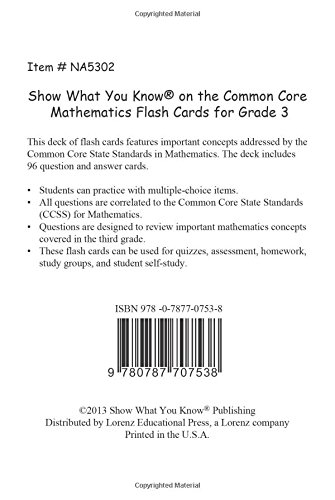 SWYK on the Common Core Math Gr 3 Flash Cards: Show What You Know ...