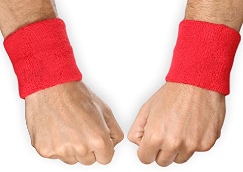 Baseball Red Wristband (Tough Headwear Sports Wristbands - Wrist Sweatbands for Men & Women - Stretchy & Sweat Absorbing Cotton Terry - Perfect for Basketball, Football, Tennis, Soccer, Running & Working Out - 1 Pair)