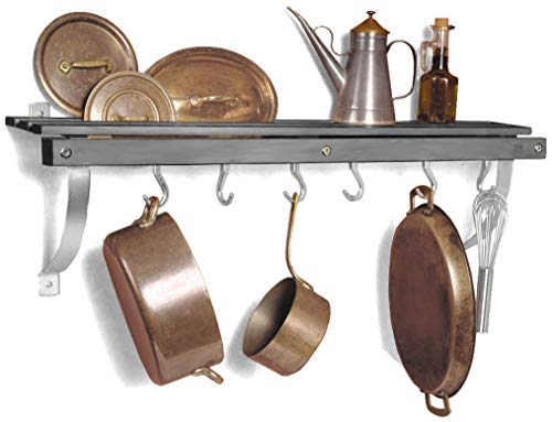 J.K. Adams 36-Inch-by-11-Inch Wall Mounted Pot Rack, 6 Hooks Included