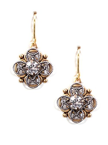 Clara Beau Elegant Deco 2-Tone Swarovski Crystal Filigree earrings - Earrings Crystal Filigree Swarovski