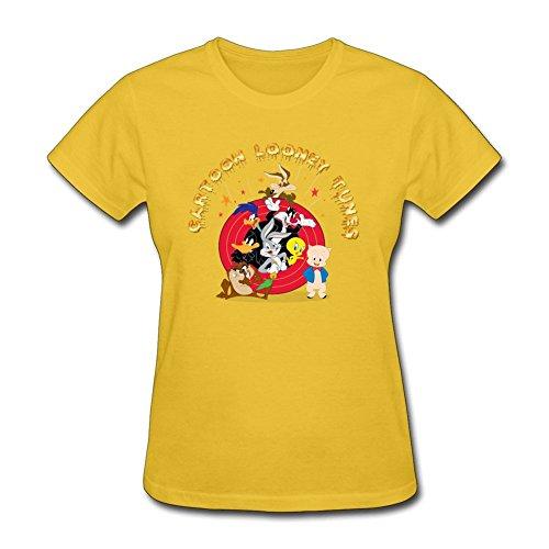 [Swag Ladies Cartoon Looney Tunes Charactors 100% Cotton Short Sleeve T Shirts Yellow XXL Costume] (Joni Mitchell Costume)