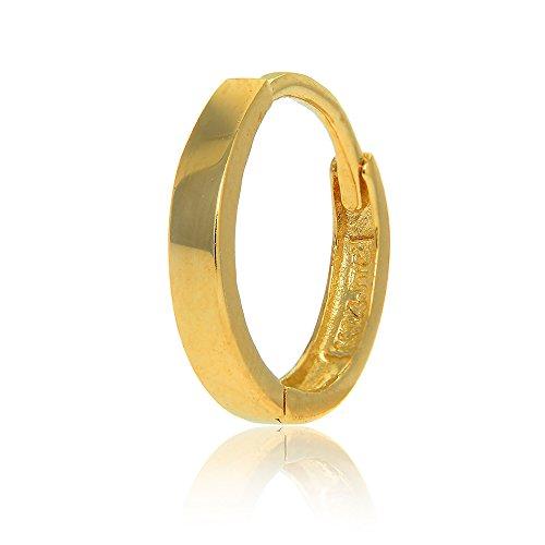 JewelStop 14k Yellow Gold Single Huggie Hoop Men's Hinged Earring - 2.6x14mm 14k Yellow Gold Single