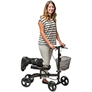 Healthport Knee Scooter | Steerable Knees Walker for Medical Foot & Leg Injuries, Post Surgery Mobility | Replaces Crutches | Lightweight, Folding, Dual Breaks,Parking Mechanism | Easy Rolling Wheels