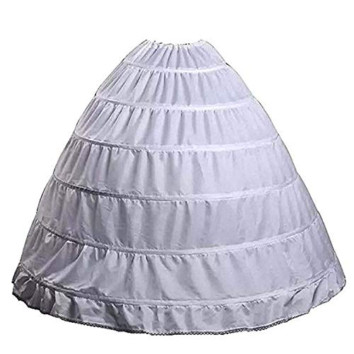 QYC Crinoline Women Petticoat 6 Hoop Handmade Slip Underskirt for Wedding Dress (White, One Size)