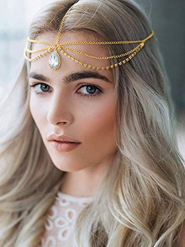 (Barogirl Head Chain Jewelry Wedding Headband Rhinestones Boho Bridal Headpiece for Women and Girls (Gold))