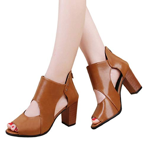 Photno ❤ Womens Hollow Fashion Booties Peep Toe Leather Boot Rear Zipper Wedding Party Banquet Leisure Shoes Brown