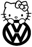 volkswagen passat jetta golf bettle tiguan die cut hello kitty decal vinyl white sticker 5'' width by 7'' height