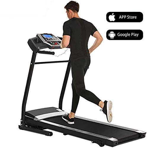 Hurbo Fitness Electric Folding Treadmill Support Motorized Power Running Fitness Jogging Incline Machine Equipment Treadmill for Home Indoor Gym (Black (APP))