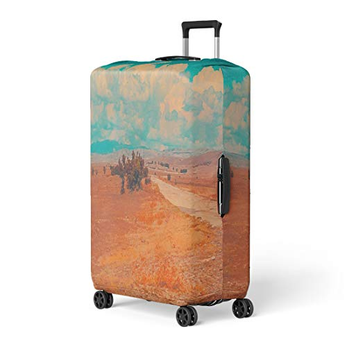 (Semtomn Luggage Cover Blue Sky Clouds Summer Steppe Landscape African Desert Mountains Travel Suitcase Cover Protector Baggage Case Fits 26-28 Inch)