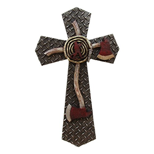 TreasureGurus, LLC Diamond Plate Firefighter Axe Shape Cross