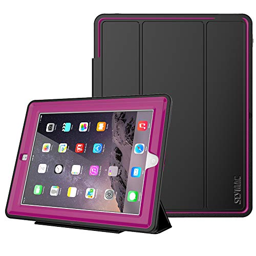 SEYMAC Stock for iPad 2 Case/iPad 3 Case/iPad 4 Case (NOT iPad 5th/6th), Heavy Duty 3 Layer, Drop Proof, AUTO Sleep Smart Cover Protective Magnetic PU Leather Stand for iPad 2/3/4 Generation (Rose)