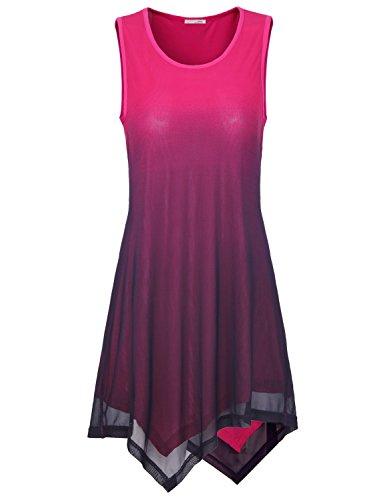 Long Tank Tops for Women, Messic Women's Fashion Sleeveless on Sale Handkerchief Hem Gradient Color Tunic Tank Dress Light (Cheap Mexican Ponchos)