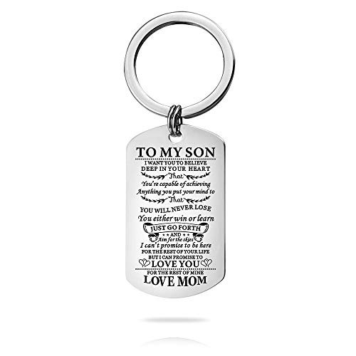 To My Son Love Mom Keychain I Want You to Believe Deep in Your Heart Inspirational Message Keychain Birthday Christmas Gifts (Christmas Son Your Message For)