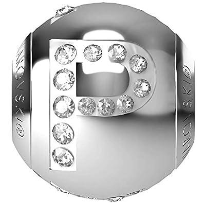 Beforya Paris** Charm perle alphabet /Également disponible en argent 925 pour femme et fille avec cristaux Swarovski avec bo/îte cadeau toutes les lettres PIN//75