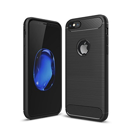 iPhone 6 / 6s Shockproof Silicone Light Brushed Grip Case Protective Case Cover for Apple iPhone 6/6s + Screen Protector iPhone (Black)