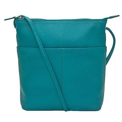 Sac Leather RFID Lining Handbag Aqua Midi with Crossbody 6661 ili daUtqxa