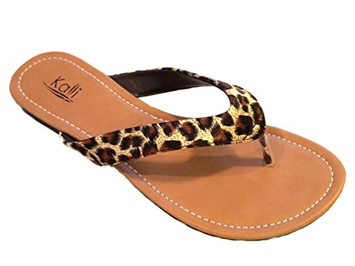 Ladies Leopard Flip Flop Thongs (Kali Footwear Women's Cocoa Flat Thong Sandals, Leopard 11)