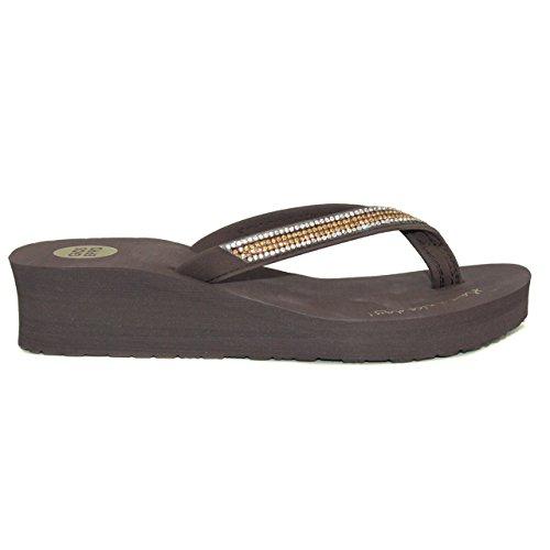 Flip Flops ausgeglichen, Sandale der Marke Gioseppo Model Grazia Farbe Schokolade mit Strass.