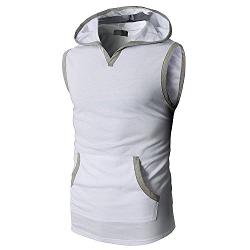 - STORTO Mens Solid Hooded Sleeveless Workout Tank Tops Casual Placket Tee Shirts White