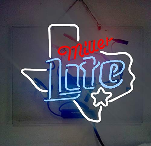 Neon Sign Display - Miller Lite Texas Beer Bar Pub Store Party Room Wall Windows Display Neon Signs 19x15