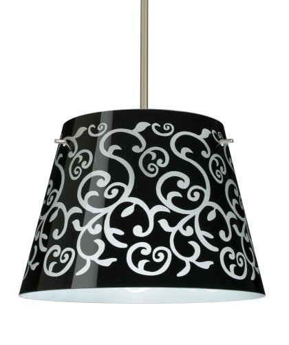 Besa Lighting 1KT-4340BD-LED-SN 3X6W GU24 Amelia 15 LED Pendant with Black Damask Glass, Satin Nickel - Satin Amelia Led Sn