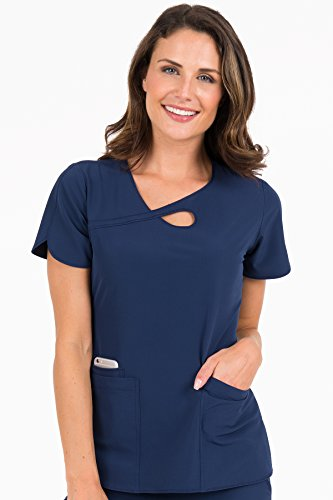 Scrub Couture Top - Med Couture Women's '4-Ever Flex' Keyhole Neckline Impact Scrub Top, Navy, Medium