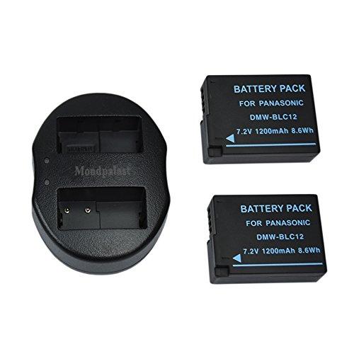 Mondpalast @ 2x Remplacement Batterie Li-ion type MW-BLC12, DMW-BLC12E, DMW-BLC12PP 1200 mah avec infochip + 1x USB Portable Double Numérique Caméra Batterie Chargeur pour Panasonic Lumix DMC-G5, DMC-G6, DMC-GH2, DMC-FZ200