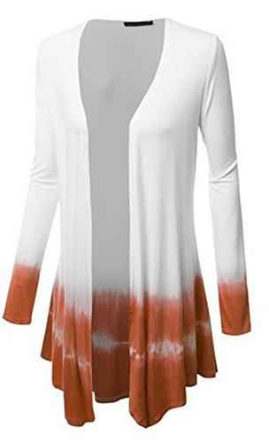 Bonitas Ocasionales Abrigos Ligero Outwear Degradado Mujer Coat Tayaho Largos Orange Tops Manga De Chaquetas Color Larga Abrigos Delgada 8awwz0Ax